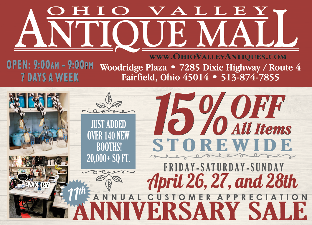 15 Off Sale One Weekend Only Ohio Valley Antique Mall